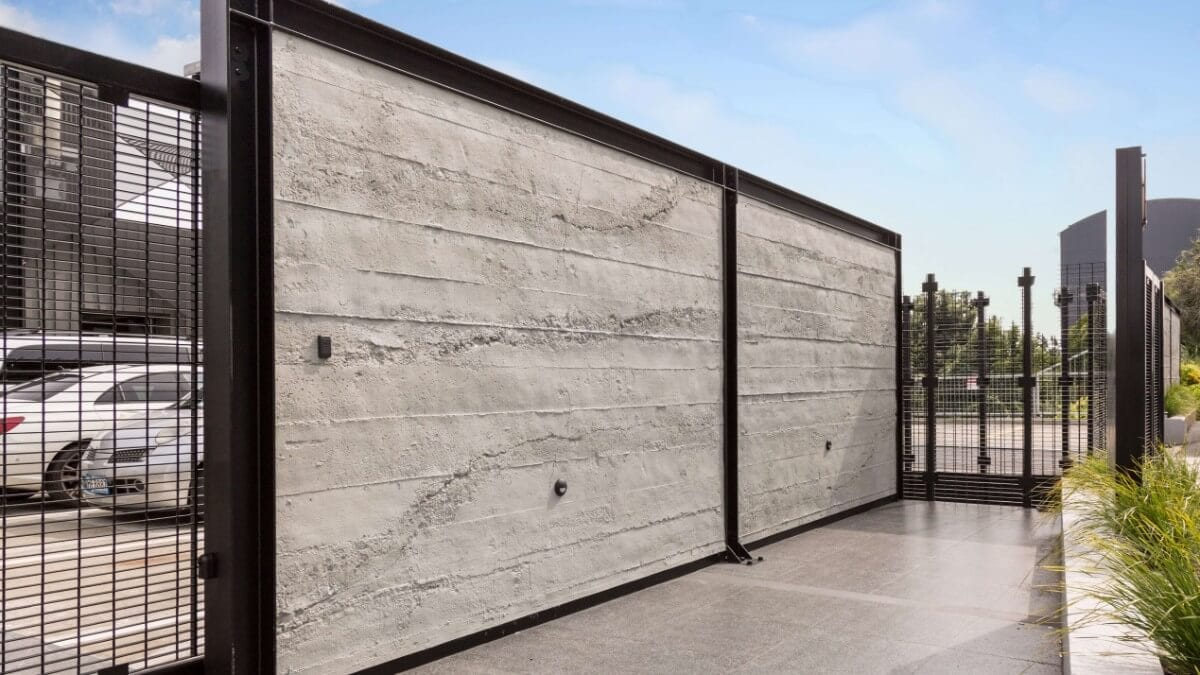 carpark grey roughcast concrete wall - muros