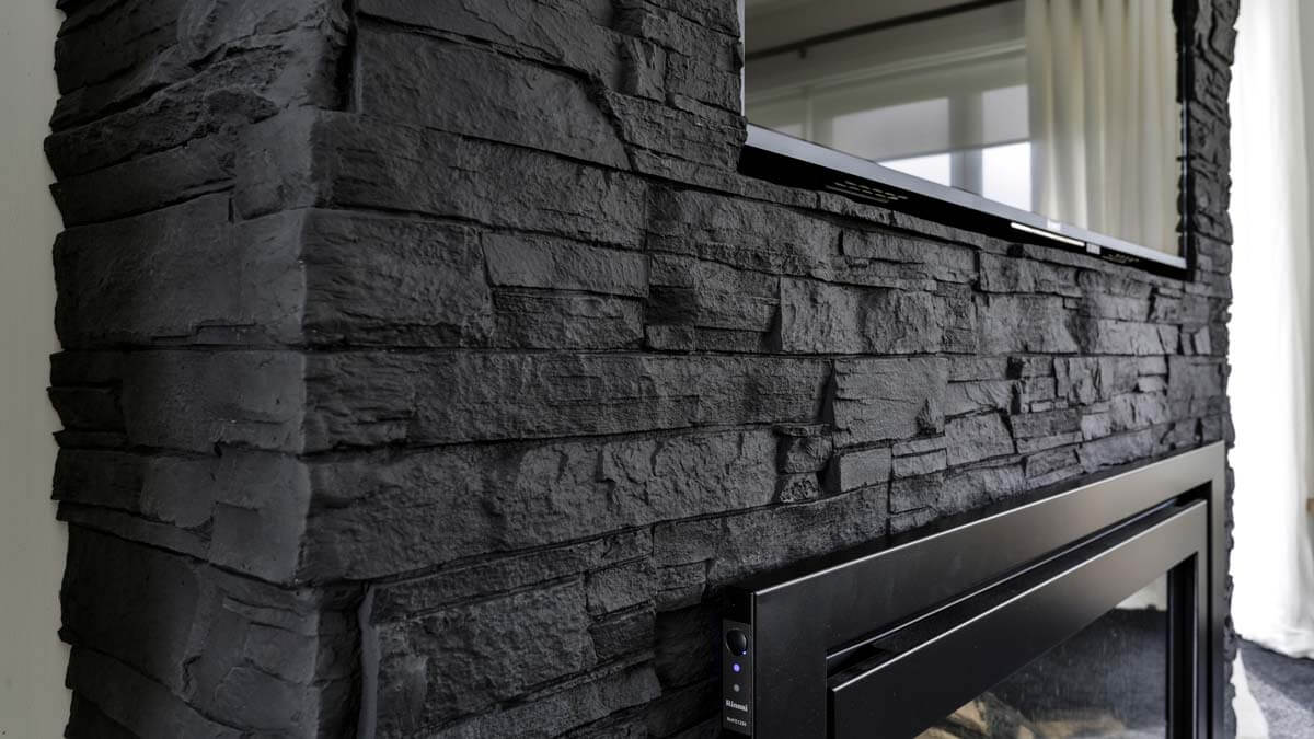 black faux stone wall panel - muros