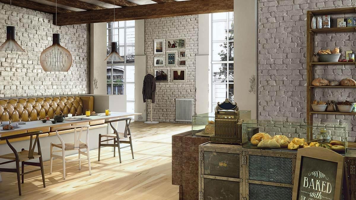 Muros White Loft Brick- Cafe Fitout