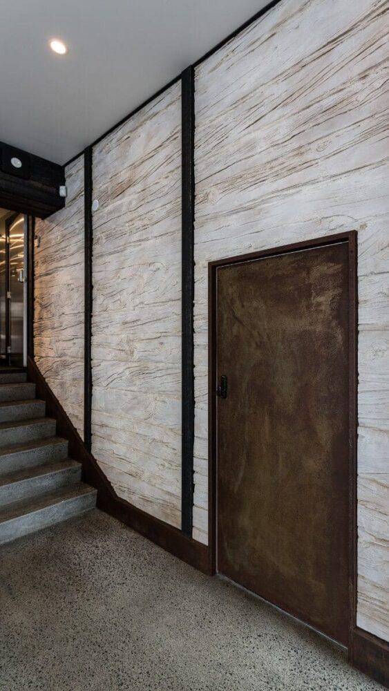 hallway interior wood wall panel - muros