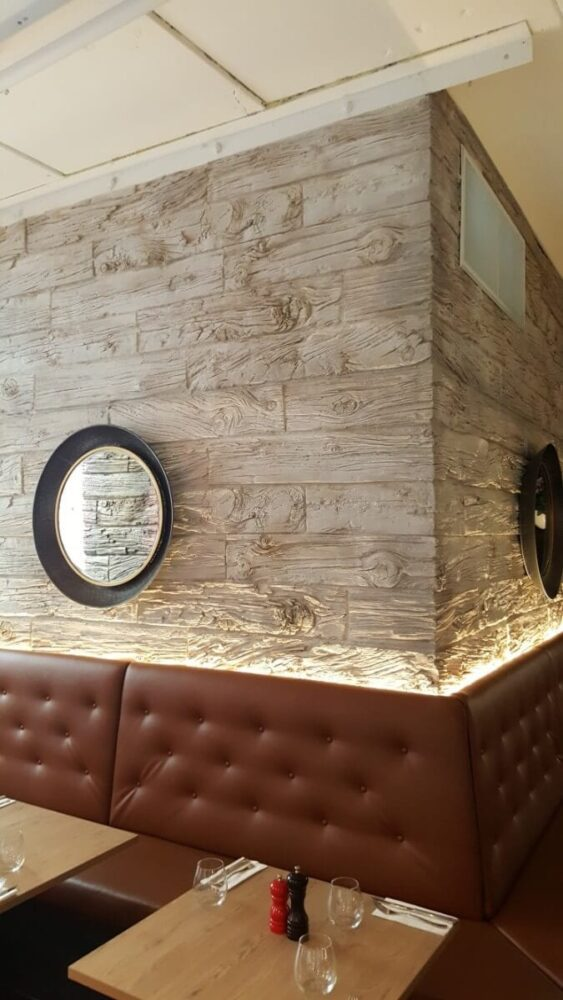 restaurant modern wooden wall panel - muros