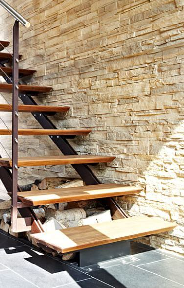 staircase earth strata stone wall panel - muros