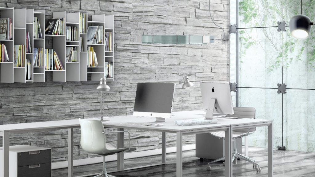 modern office white wood wall panel - muros