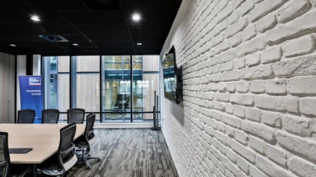 white brick wall panel office - muros