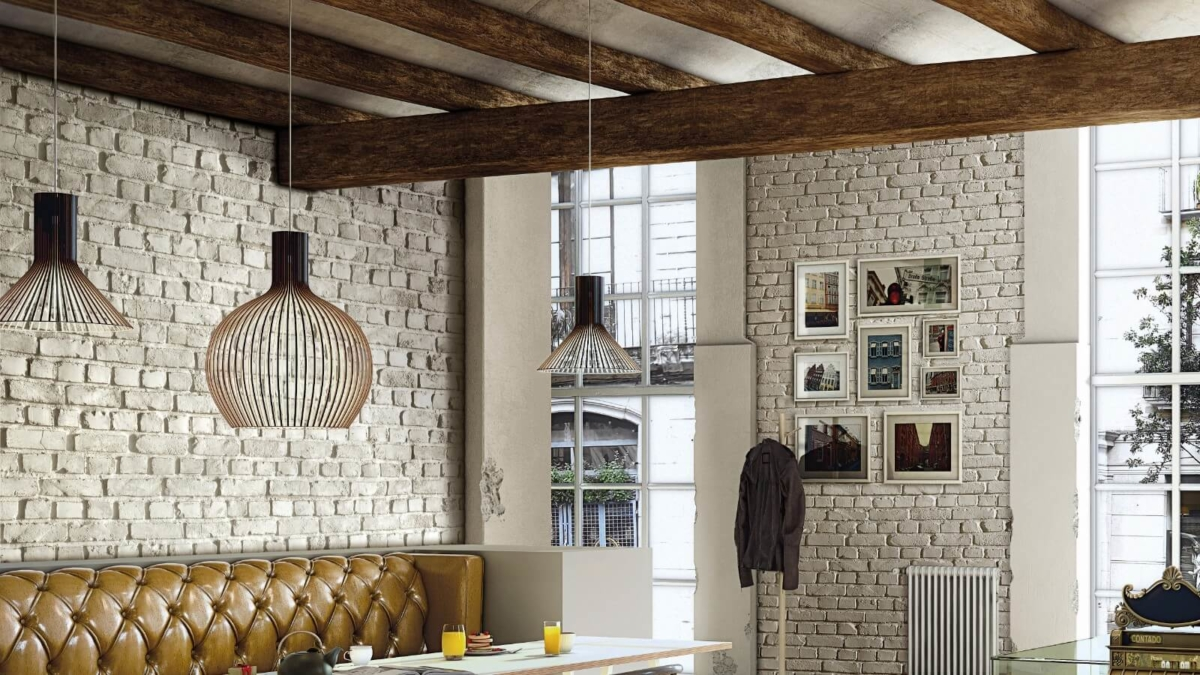 brick wall panel unique living room - muros