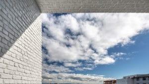 modern exterior white brick wall panel - muros