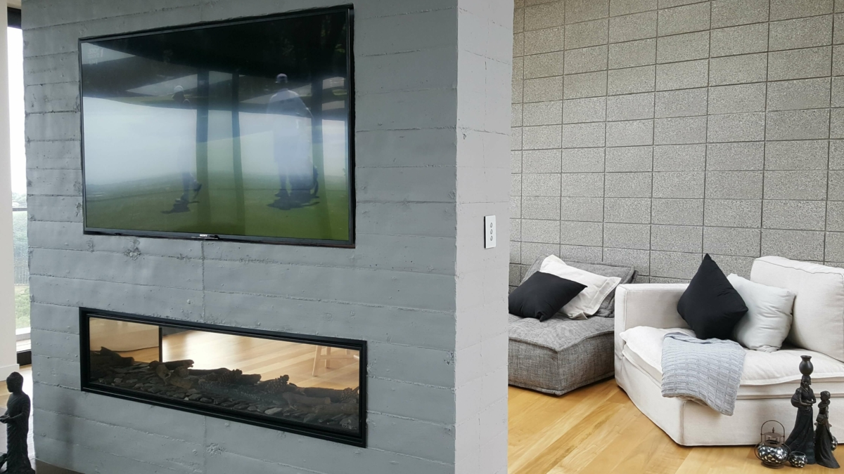 Grey Concrete for residential fireplace